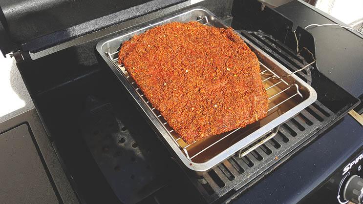 Platzierung Beef Brisket im Gasgrill
